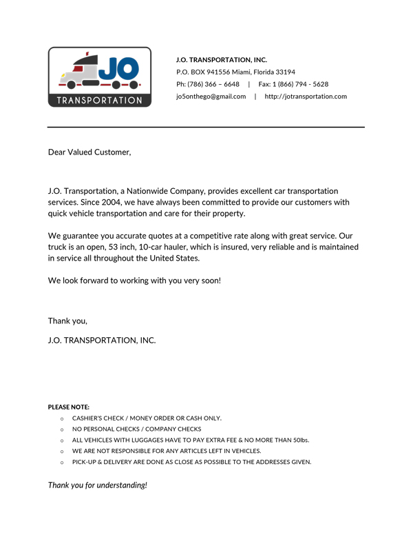 Document: Letter to Customers