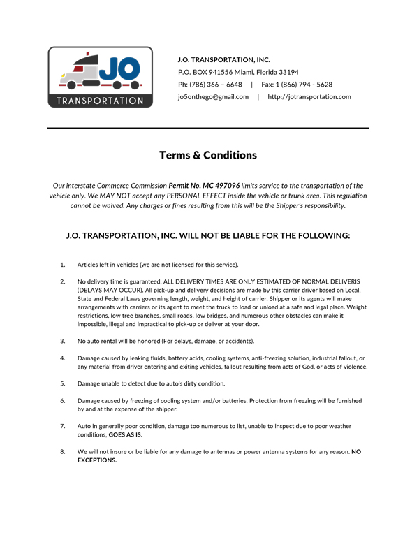 Document: Terms and Conditions